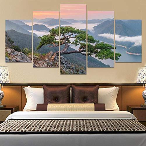 13Tdfc Cuadros Decor Salon Modernos 5 Piezas Lienzo Grandes XXL Murales Pared Hogar Pasillo Decor Arte Pared Abstracto Paisaje Bonsai Tree HD Impresión Foto 150X80Cm Regalo