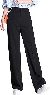 [もうほうきょう] 春 夏 レディースズボン スーツズボン ハイウエスト ワイドパンツ カジュアル 直筒 広い足 長ズボン 女性 ブラック ゆったり ロングパンツ