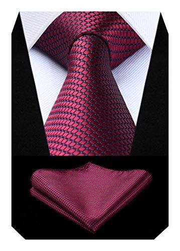 BIYINI Cravatta Uomo a Quadri Scozzese e Fazzoletto Elegante Cravatta Set di Cravatte Classiche per il Matrimonio Festa Lavoro Laurea