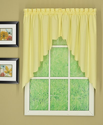 """Today's Curtain Orleans 38"""" Swag Pair Tambour Scallop Edge Curtain, Buttercup, 60"""" W X L"""
