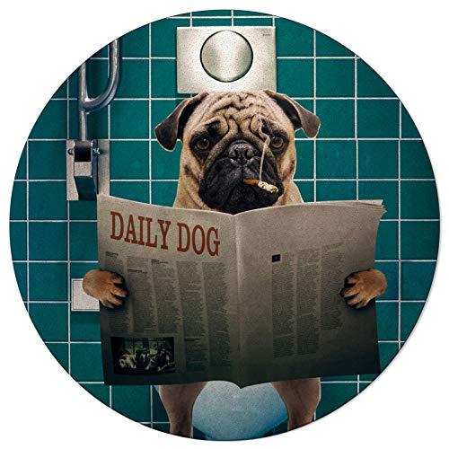 Round Area Rugs Pug Reading Newspaper Soft Indoors/Living Room/Bedroom/Children Playroom/Kitchen Mats Toilet Funny Dog Non Slip Rubber Backing Yoga Carpets 6 ft Diameter