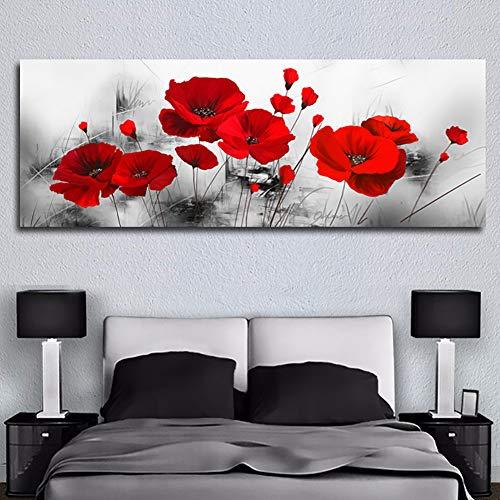 KKJJ Cuadro Moderno En Lienzo Pintura Naturaleza, Lienzo De Impresión Flor Roja Abstracta, para Salon Decoración De La Pared Enmarcada Grande Impresion Fotografica, Sin Aros,50 * 150CM