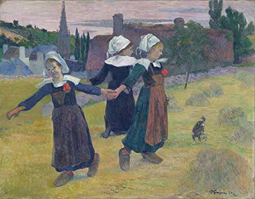 Tapestry Wall Hanging for Room Bonus Nails and Clips for Hanging Printing with Famous Painting Breton Girls Dancing Pont Aven