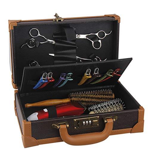 Estuches de peluquero para cortaúñas y suministros Caja de herramientas de almacenamiento de peluquero Bolsa de salón portátil retro Barbero Bloqueo de contraseña Caja de almacenamiento de maleta