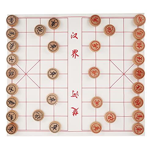 SPYMINNPOO Juego de ajedrez, Juego de ajedrez Chino Juego de Mesa de Viaje de Madera de Haya Xiangqi con Tablero de ajedrez de Cuero