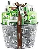 BRUBAKER Cosmetics - Coffret de bain & douche - Aloe vera - 9 Pièces - Bac à plantes vintage - Idée cadeau