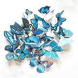 PVC Azul Mariposa Etiqueta de la Pared para Sala de Estar 3D Tatuajes de Pared Arte Moderno Papel Pintado decoración del hogar Accesorios 12 unids/Set