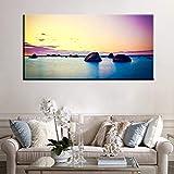 wZUN Naturaleza Puesta de Sol Lago Paisaje Cartel e impresión Lienzo Pintura Mural escandinavo Sala de Estar 50x100 cm