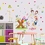 Etiqueta de la pared Paraíso de los Niños Pintado Música Lindo Animales Estrella Globo habitación de los niños Decoración de la pared Stave Autoadhesivo Calcomanía