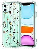 Oihxse Cristal Compatible con iPhone 12 5.4'' 2020 Funda Transparente TPU Silicona Estuche Airbag Esquinas Anti-Choque Anti Rasguños Diseño Rosa Flower Caso (Flores B8)