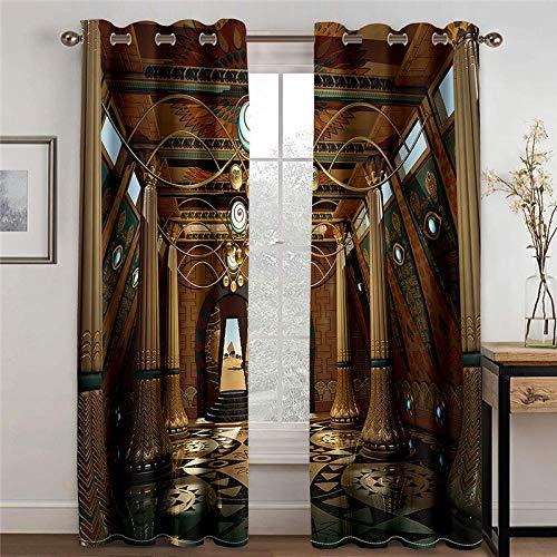 wangcheng1 Römische Säulen-Vorhang Blickdicht Kinderzimmer Gardinen mit Ösen Verdunkelungsvorhang für Schlafzimmer Thermo Vorhänge 2 Stücke 168X183cm(BxH)
