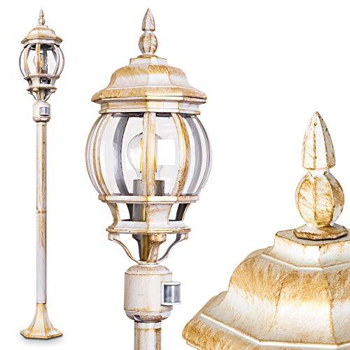 Buitenverlichting Lentua w. bewegingsmelder, wegverlichting in antieke look, gegoten aluminium in wit/goud met kunststof schijven, vloerlamp 130 cm, retro/vintage tuinlamp, E27 stopcontact, max. 60 Watt, IP44