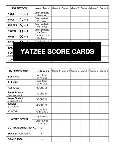 Yatzee Score Cards (Large Book With Many Pages Of New Score Sheets For Counting Points And Recording Your Totals To See Who Is The Eventual Winner, Band 1)