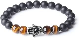 Onyx Tiger Eye Stone Hamsa Hand Prayer Bracelet