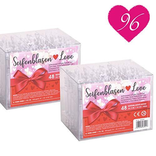 WOMA Seifenblasen Hochzeit Set Love Edition - 48 & 96 Stück Sets mit süßem Herzgriff für Verlobung & Hochzeit - Wunderschöne Hochzeitsdeko & Wedding Decoration