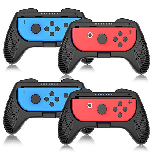 Grip for Nintendo Switch Controller - 4 Pack Switch Controller Game Grip Handle Kit Fit for Nintendo Switch Joy-Con Controllers (Black)