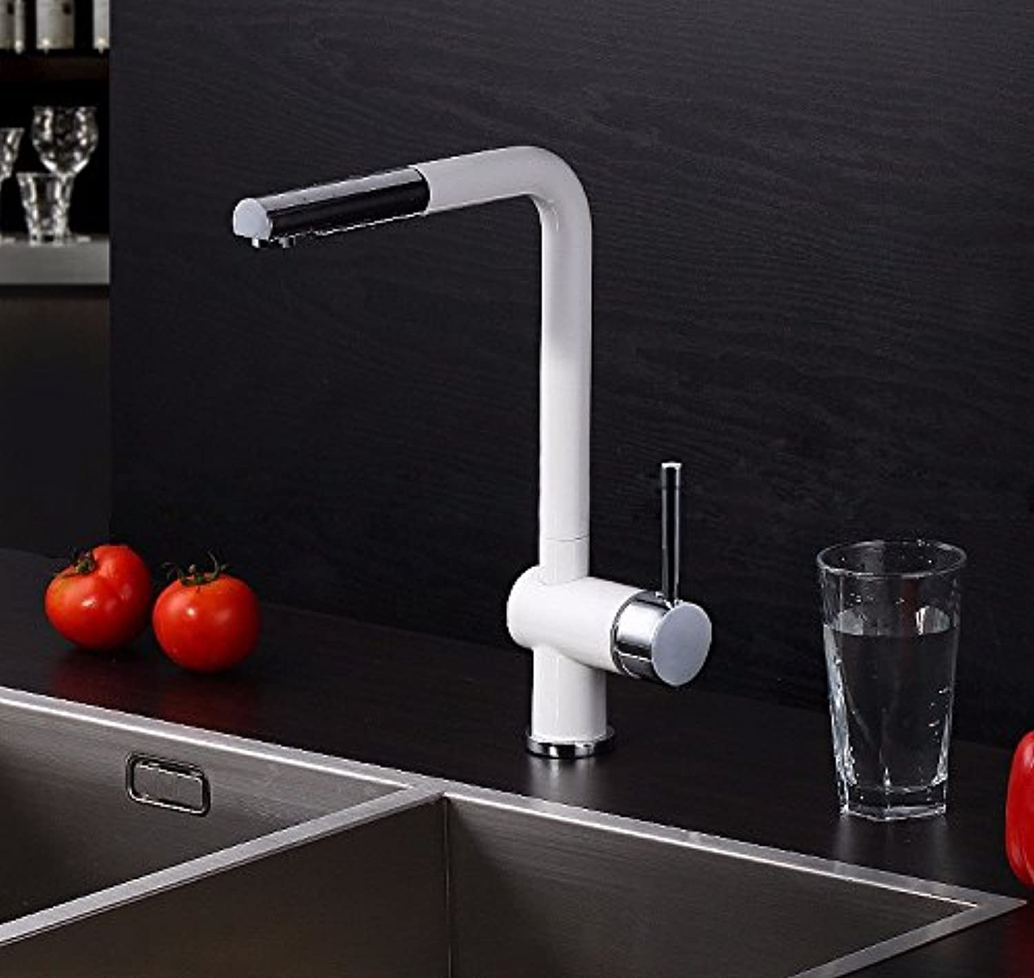 GrowtherHOME New Design Pull Out Kitchen Faucet 100% Brass Single Hole Sink Taps Thermostatic Mixer White Lacquer Painted Facuet