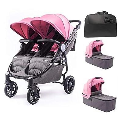 Silla Gemelar Easy Twin 4 Chasis Negro + 2 Capazos Baby Monsters Plástico de Lluvia y Barras Frontales incluidas Color Milkshake