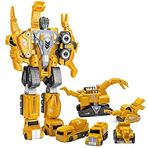 5 in 1 Dinosaur Transformer Toys Set, Magnetic Assemble into Emulation 14.5 inches Large Robot Figures, 5 Construction…