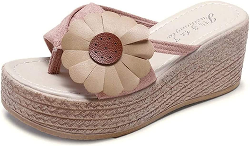 Womens Beach Wedge Mule Sandal Casual Fashion Platform Slides Slipper Non-Skid Slip-on Thong Sandals