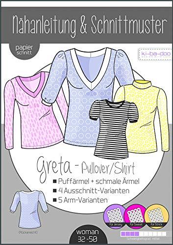 Schnittmuster kibadoo Greta Pullover & Shirt Damen Gr.32-50 Papierschnittmuster