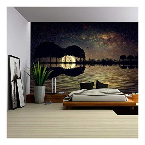 wall26 - Trees Arranged in a Shape of a Guitar on a Starry Sky Background in a Full Moon Night - Removable Wall Mural | Self-Adhesive Large Wallpaper - 100x144 inches