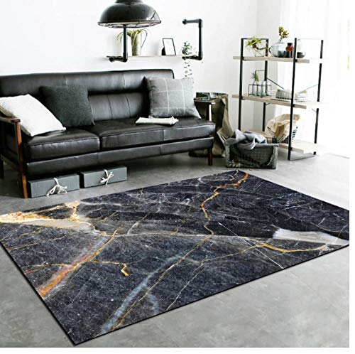 Luxury Marble Carpet Area Rug Living Room Office 3D Carpet Black Home Floor Mat Table Balcony Alfombra Dormitorio