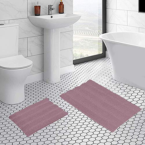 Soft Non Slip Thick Bathroom Rugs, Indoor/Kitchen Absorbent Bath mat, Fluffy and Thick Floor mat, Shaggy Chenille Microfiber Rug - Mauve (2 Piece Set 20' x 32'/17' x 24')