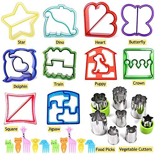 Iindes Sandwich Ausstecher Kinder Set von 28 Stück - 10 Brot Ausstecher + 8 Gemüse Edelstahlschneider + 10 Picks
