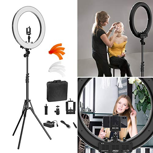 Ring Light Kit:18' 48cm Outer 55W 5500K Dimmable LED Ring Light, Light Stand, Carrying Bag for...