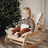 FUNNY SUPPLY Toddler Rocker Multi Baby Wooden Lounge Chair with Cushion Booster Seat Belt 3 in 1 Rocker Chair for Baby