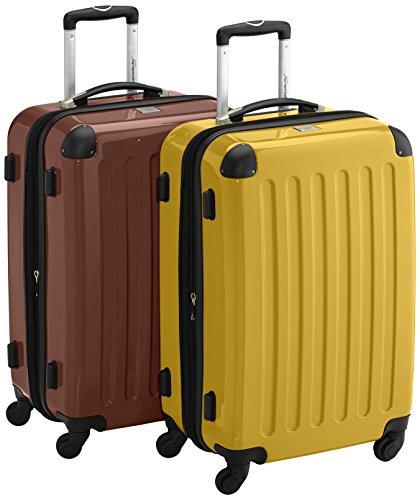 HAUPTSTADTKOFFER - Alex - 2er Koffer-Set Hartschale glänzend, 65 cm, 74 Liter, Braun-Gelb