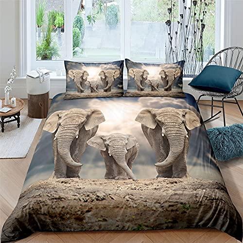 Zqylg Trendy Bedding - Juego de cama con diseño de elefante, elefante y trompas, multicolor, safari, africano, animales salvajes, funda nórdica de 135 x 200 cm, poliéster y algodón (01,200 x 220)
