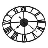 Reloj de Pared con números Romanos de Metal Retro, Reloj de Pared de decoración del hogar de jardín al Aire Libre Grande de Oro Negro