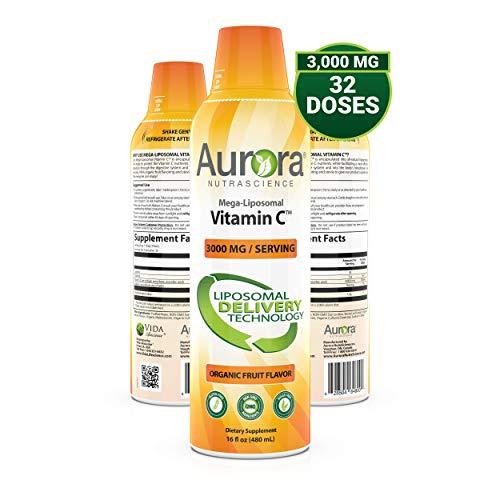 Aurora Nutrascience Mega-Liposomal Vitamin C 3000 mg per Serving 16 oz Liquid - High Absorption, Fat Soluble VIT C, Antioxidant Supplement, Higher Bioavailability Immune System Support (16 oz.)