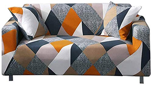 nordmiex Stretch Sofa Slipcovers Fitted Furniture Protector Printed Sofa Cover Stylish Fabric Couch Cover with 2 Pillowcases for 4 Cushion Couch(Sofa-4 Seater,Geometric)