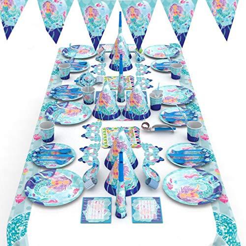 Suministros de Fiesta de Set Sirena Niños Fiesta de cumpleaños La niña cumpleaños Supplies Set Contiene manteles, Cubiertos, silbatos, manteles, pajitas para cumpleaños, Navidad, acción de Gracias, et