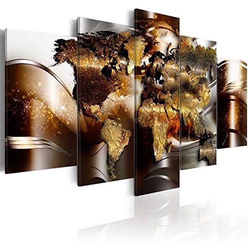 murando - Bilder Weltkarte 200x100 cm Vlies Leinwandbild 5 TLG Kunstdruck modern Wandbilder XXL Wanddekoration Design Wand Bild - Weltkarte Kontinente World Map Abstrakt Gold Silber k-A-0017-b-n