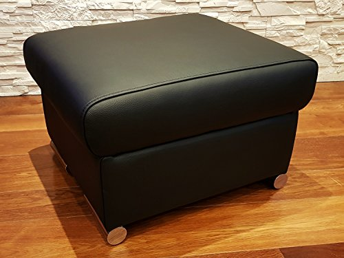 Quattro Meble Schwarz Echtleder Hocker Sitzhocker Rindsleder Sitzwürfel 60x55 Fußhocker Polsterhocker Echt Leder Puff