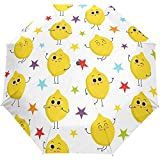 Cute Lemon Stars Summer Spring Auto Close Paraguas Anti UV Plegable Compacto Automático Paraguas