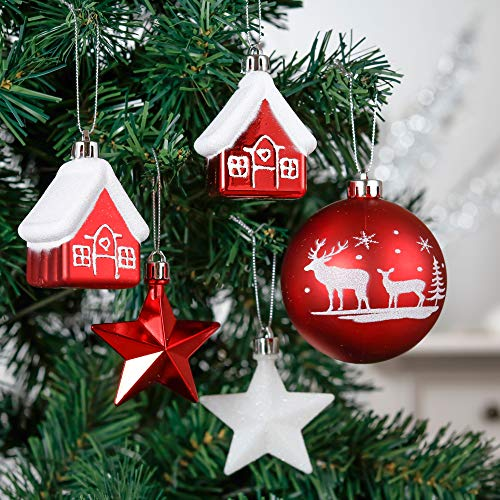 ValeryMadelynクリスマスオーナメントユーロッパ風紅白色50個セット人気クリスマスボールサンタの要素おおじか雪屋長靴ハートスタークリスマスツリーおしゃれレッドシロカラー飾り飾り付けメタルフック付