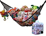 MiniOwls Toy Storage Hammock - Organizational Stuffed Animal Net for Play Room or Bedroom. Fits 20-30 Plushies. Comes in a Gift Box. (Black, X-Large)
