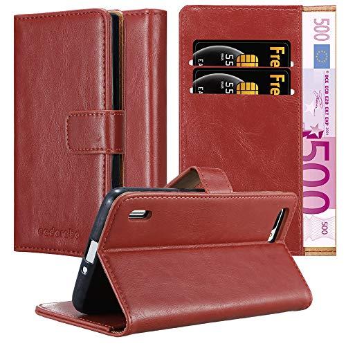 Cadorabo Hülle für Honor 6 Plus - Hülle in Wein ROT – Handyhülle im Luxury Design mit Kartenfach & Standfunktion - Case Cover Schutzhülle Etui Tasche Book