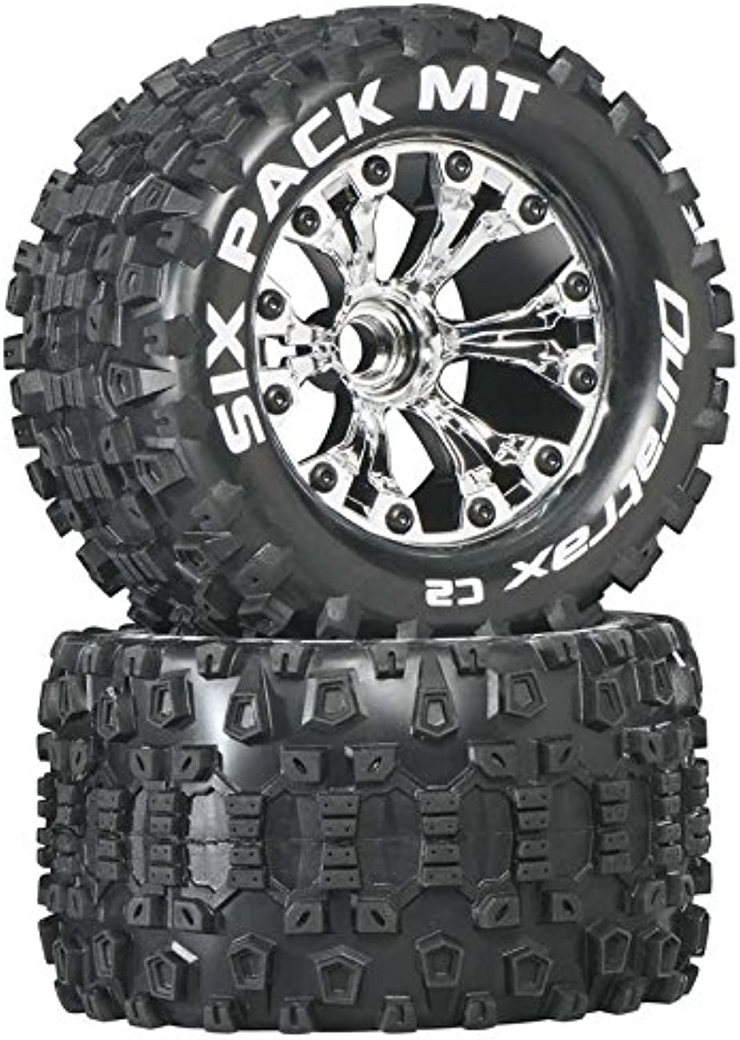 Duratrax Six Pack MT 2.8  RC Monster Truck Tires with Foam Inserts, C2 Soft Compound, Mounted on Front Chrome Wheels (Set of 2)