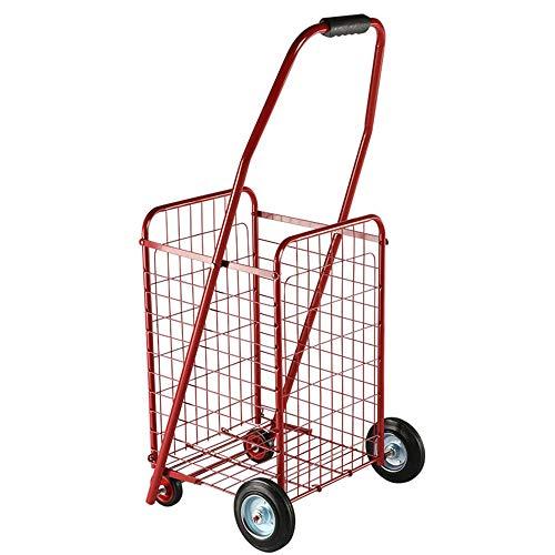 SongMyao Einkaufstrolleys Kompaktes Falt Kleine Lebensmittelwagen Leicht Faltbar Praktische Scrollrad Rotierendes Licht Einkaufswagen (Color : Red, Size : 36.5 * 43 * 86cm)