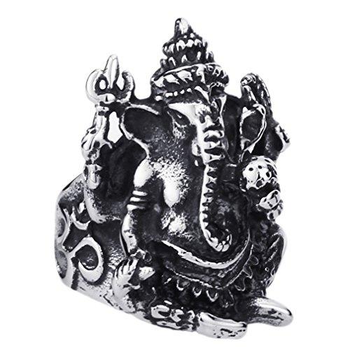 Da uomo In acciaio INOX gotico vintage Elephant Gods anelli misterioso Biker anelli regali di Halloween, misura 7–13 e Acciaio inossidabile, 17, cod. HEROBRRING1192