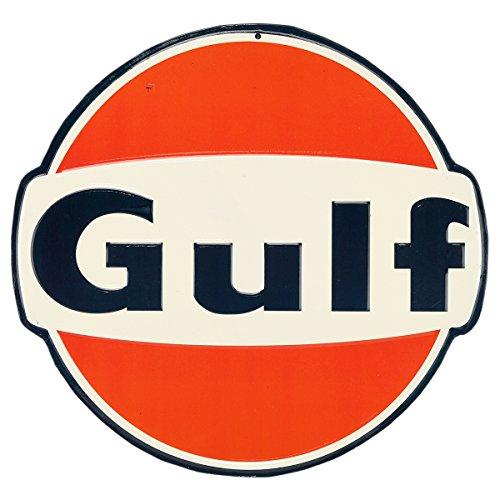 Open Road Brands Gulf Vintage Blech Button Metallschild – offizielles Lizenzprodukt, tolle Ergänzung für Ihr Zuhause/Garage