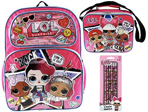 L.O.L. Surprise! Backpack and Insulated Lunch Tote PLUS 6 Pack of Pencils