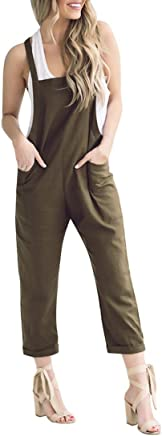 0c81fee0fe5 RAISINGTOP Women Loose Casual Baggy Jumpsuit Trousers Overall Pants Khakis Wide  Leg Ankle Jeans one Piece
