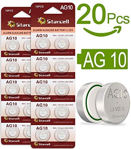 20 Act AG10/LR54/189/389/LR1130 Knopfzelle Alkaline Alkali Batterie, 2x 10-er